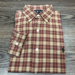 Polo Ralph Lauren Red, Tan & Gold Plaid Shirt S